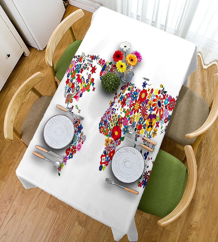 HAIXIA Manteles con diseño de mapamundi floral, diseño de flores y pétalos, 55inch102inch