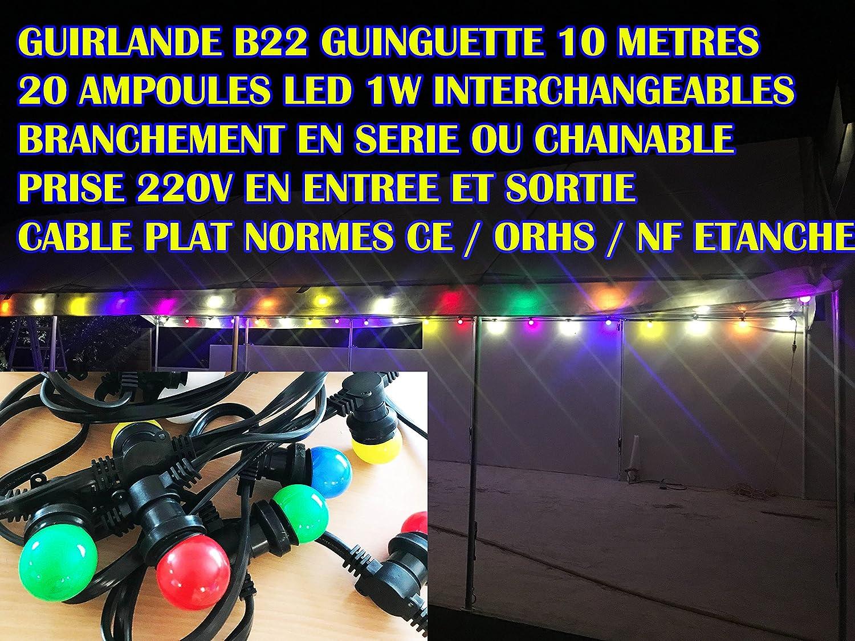 Tibelec Guirlande lumineuse extérieure avec 15 Ampoules LED