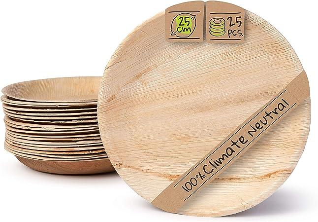 BIOZOYG Palmware Platos de Hojas de Palma I 25 Piezas de ojas de Palma Redondo Ø 25 cm I Bio vajilla desechable Boda compostable Biodegradable Vajilla de Fiesta: Amazon.es: Hogar