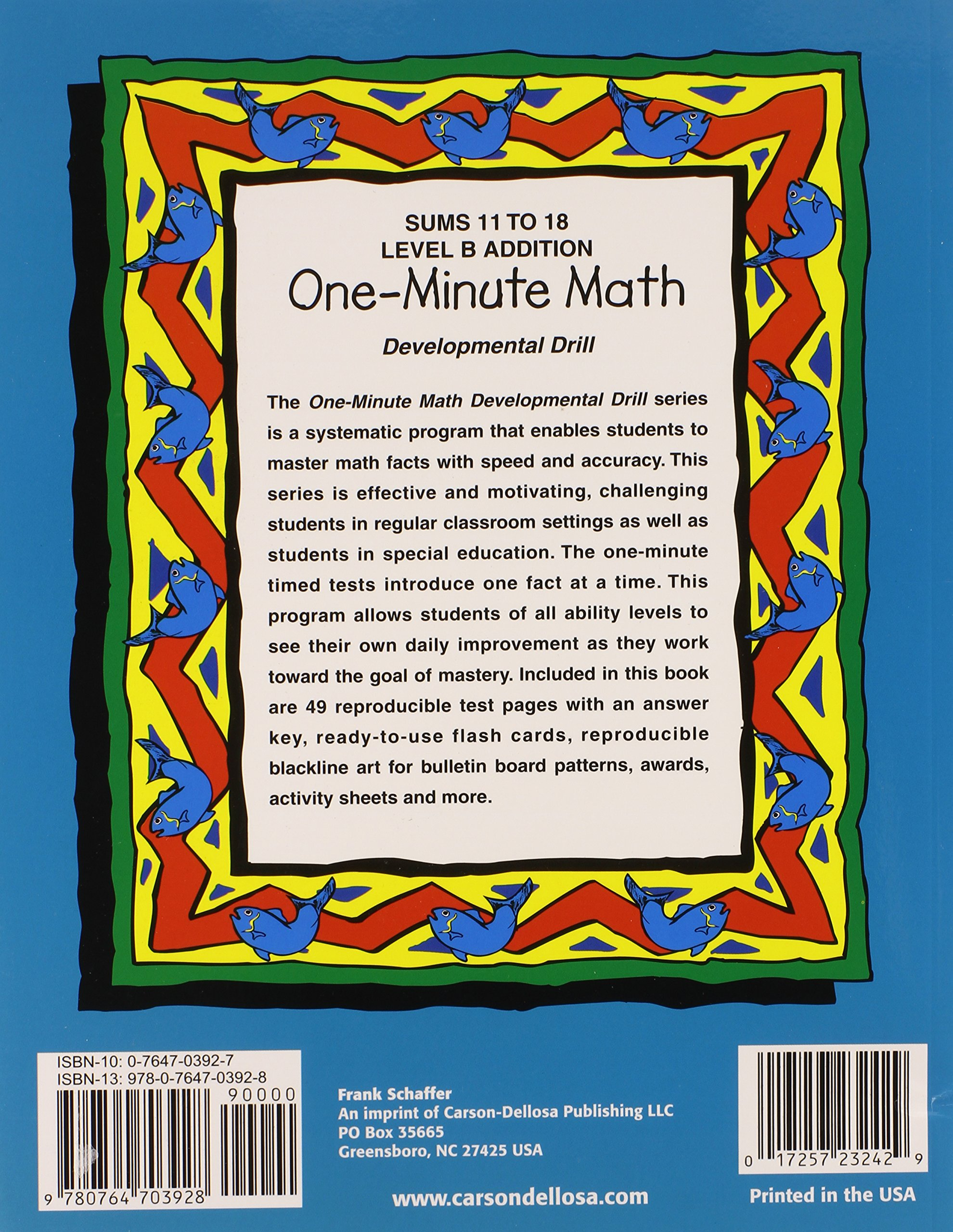 worksheet Frank Schaffer Publications Worksheets one minute math level b addition sums 11 to 18 fs 23242 theresa warnick 0017257232429 amazon com books