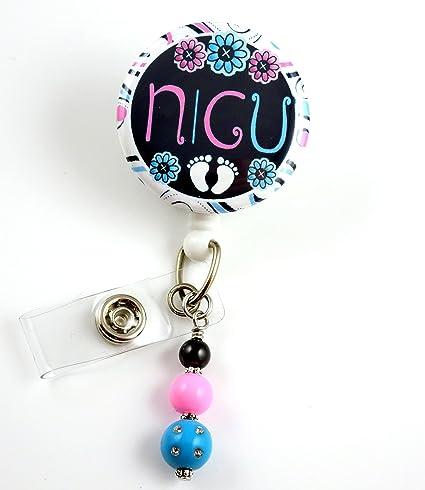 NICU Badge Reel Mylar - Nurse Badge Reel - Retractable ID Badge Holder -  Nurse Badge - Badge Clip - Badge Reels - Pediatric - RN - Name Badge Holder