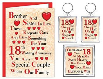 brother sister in law 18th wedding anniversary gift set card 2 keyrings