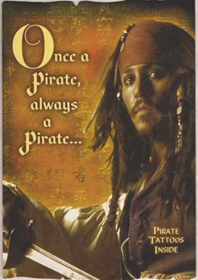 4d36b7dde2fce Pirates of the Caribbean Johnny Depp As Captain Jack Sparrow Birthday Card  Including Pirate Tattoos Inside