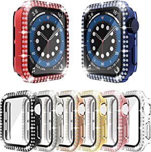[8-Pack] RICHONE Bling Case Compatible with Apple Watch SE Series 6 5 4 44mm, Double Row Diamonds Cover with 3D Tempered Glass Screen Protector Bumper (8 Colors, 44mm)