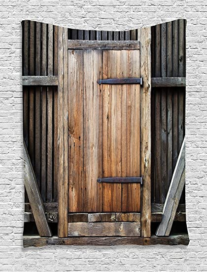 Ambesonne Antique Decor Tapestry Wall Hanging, Rustic Antique Wooden Door  Exterior Facades Rural Barn Timber - Amazon.com: Ambesonne Antique Decor Tapestry Wall Hanging, Rustic