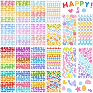 20 Sheets Colorful Number Letter Stickers Alphabet Number Star Heart Stickers Assorted Self Adhesive DIY Stickers for Arts Crafts Cards Scrapbook Home Decoration Supplies (Elegant Style)