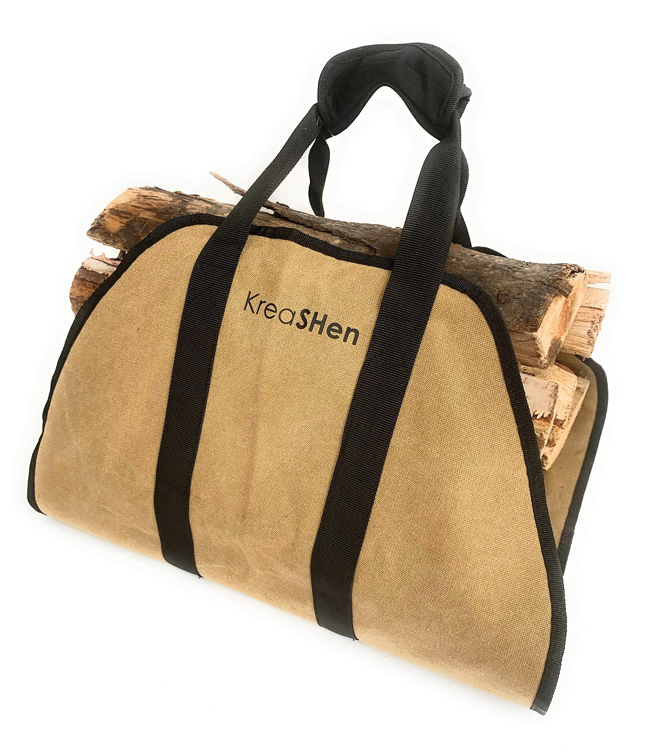 Firewood Log Carrier (Waxed Canvas) Water Resistant Tote with Padded Handles by KreaSHen