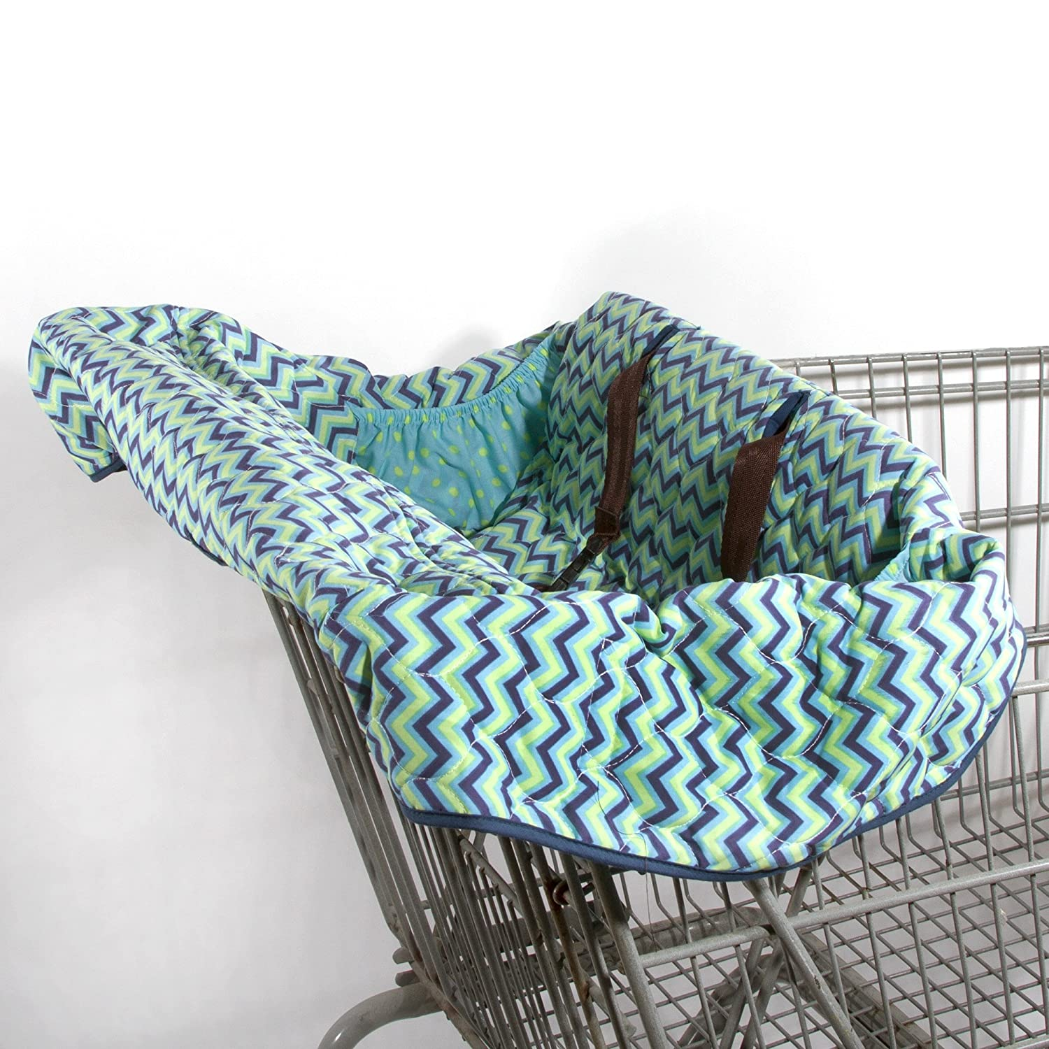 Pam Grace Creations ZigZag Elephant Grocery Cart Cover, Blue GC-ARGYLE