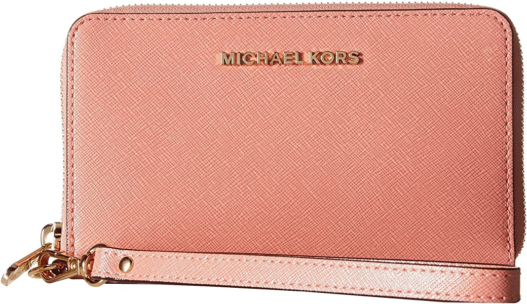 86ec5bf1a684 Amazon.com: New Michael Kors Jet Set Travel Large Flat Multi Function Phone  Case Peach: Shoes