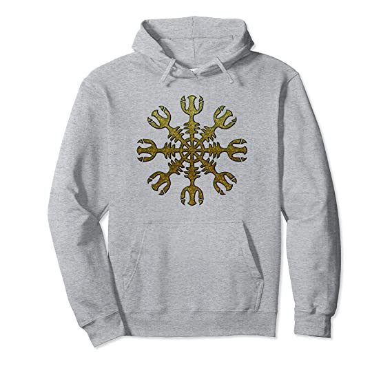 284073e43e6ec0 Amazon.com  Aegishjalmur Helm of Awe Viking Protection Metal Hoodie   Clothing