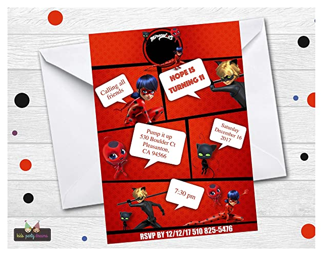 Ladybug Birthday Party Invitation Customized Set Of 14