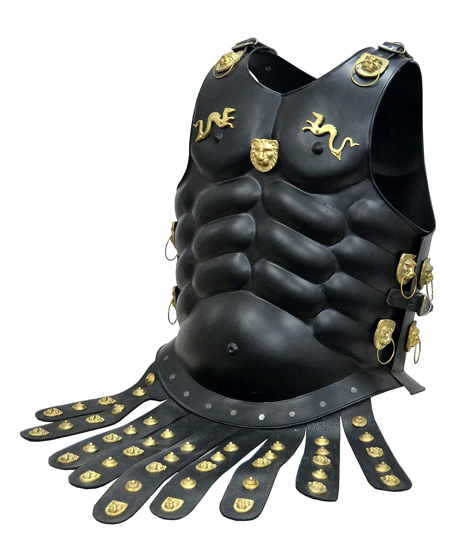 Armor Pechopetral Medieval Traje de muscular de Armor Chaqueta SUIT en negro