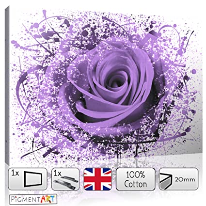 Grande Lila Rosa Floral abstracto flores amor romántico lienzo pared ...