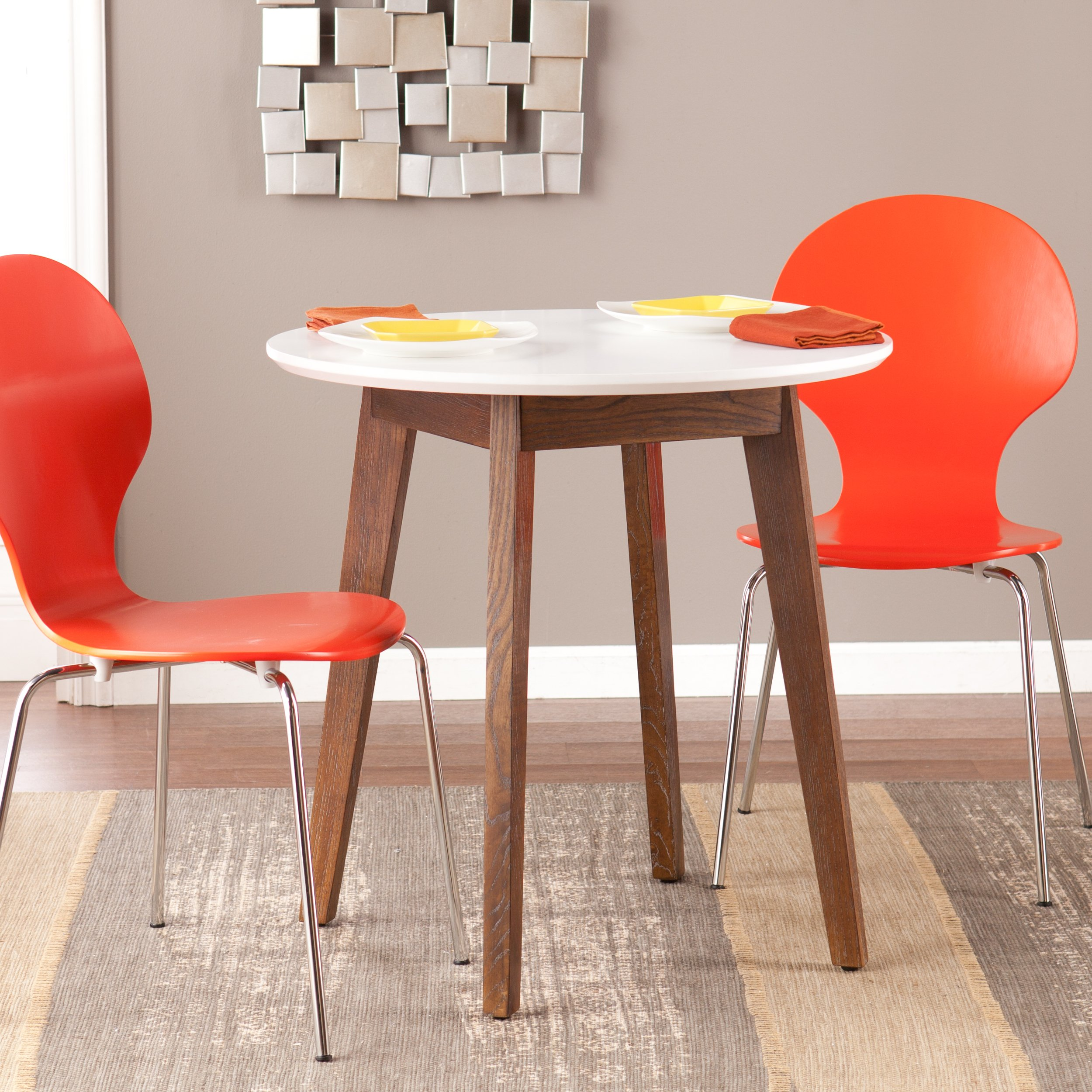 Oden Round Table - White Top w/ Burnt Oak Finish - Wooden Frame