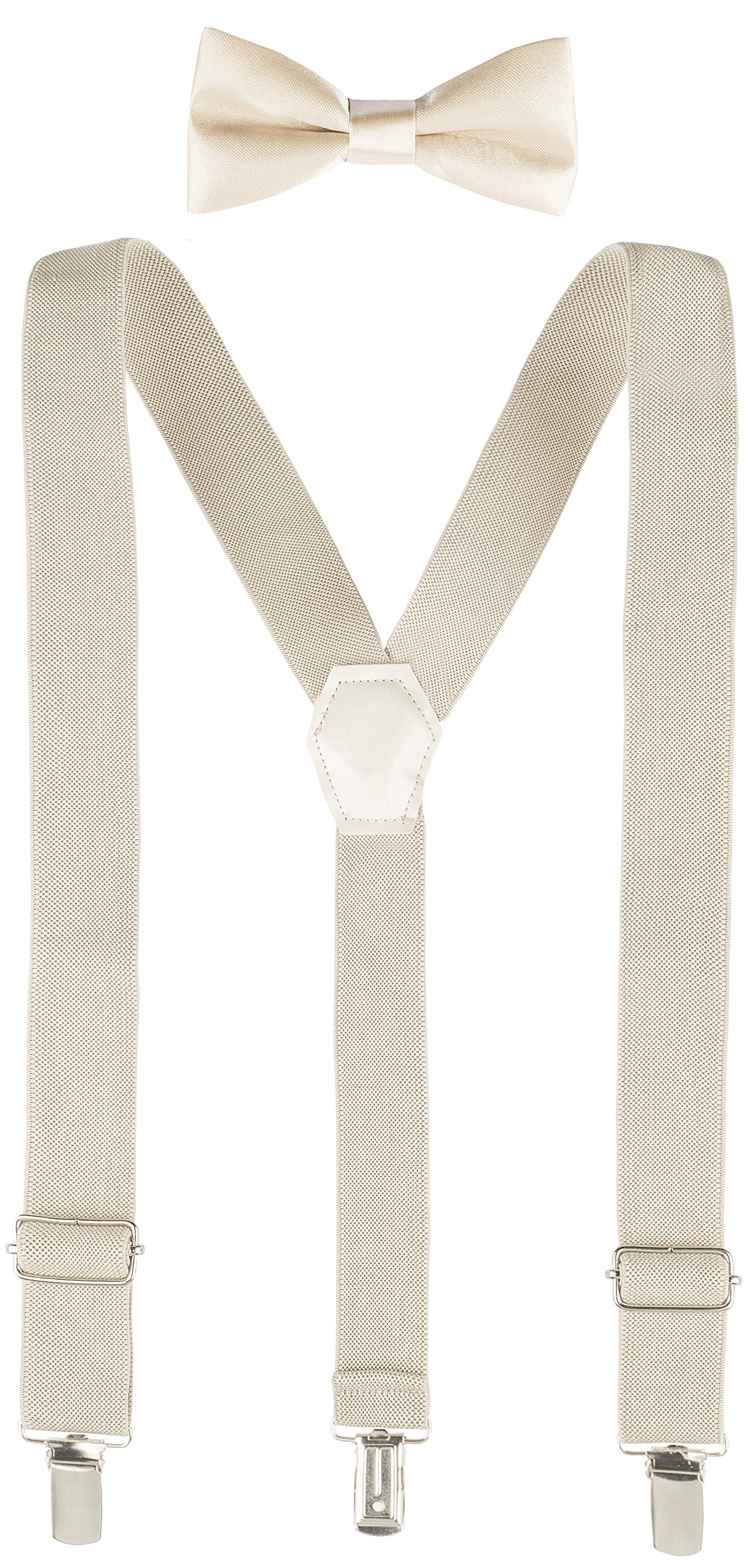 Lilax Boys Solid Color Adjustable Elastic Suspender & Bow Tie for Kids and Baby 26'' Beige