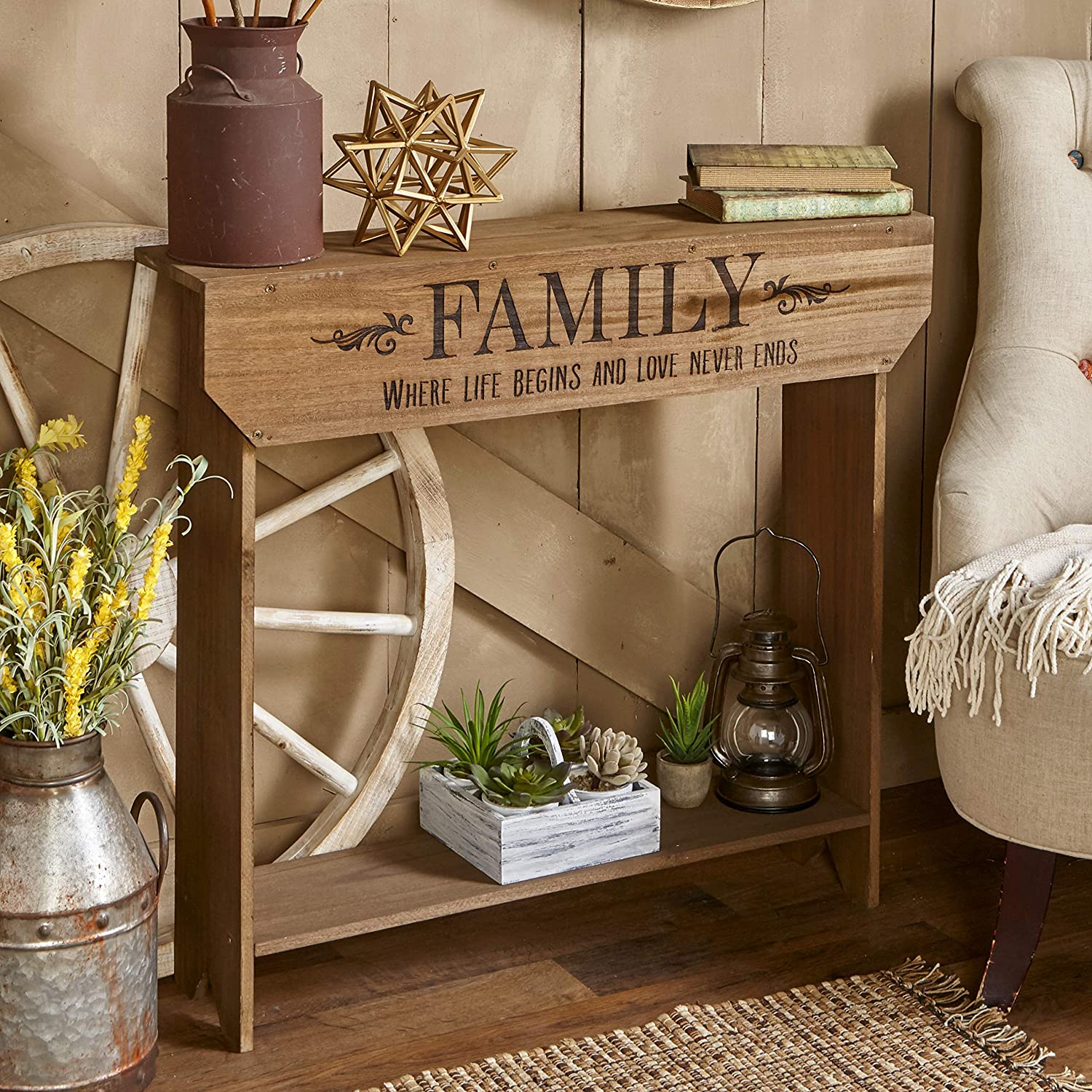 The Lakeside Collection Farmhouse Sentiment Console Table - Family - Rustic Country Decor