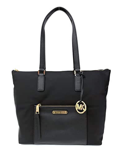 ca5389d0c324 Amazon.com: MICHAEL Michael Kors Ariana North/South Large Nylon with  Leather Trim Tote (Black): Shoes