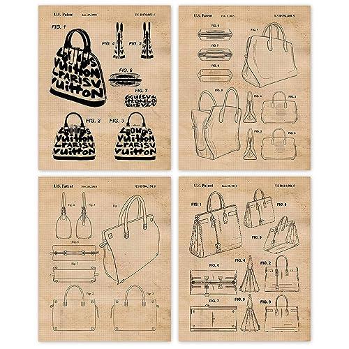 Amazon Com Vintage Designer Handbags Patent Poster Prints Set Of 4 8x10 Unframed Photos Wall Art Decor Gifts Under 20 For Home Office Studio Salon College Student Teacher Fashion Designer Fan Handmade