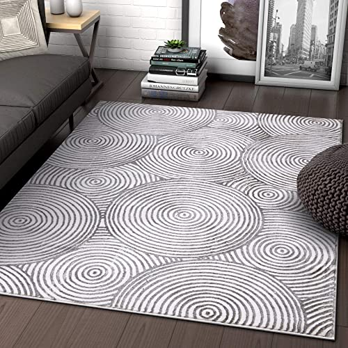 Well Woven Grey Modern Geometric High-Low Pile Area Rug 8×11 7 10 x 9 10 Industrial Urban Rings Circles Carpet