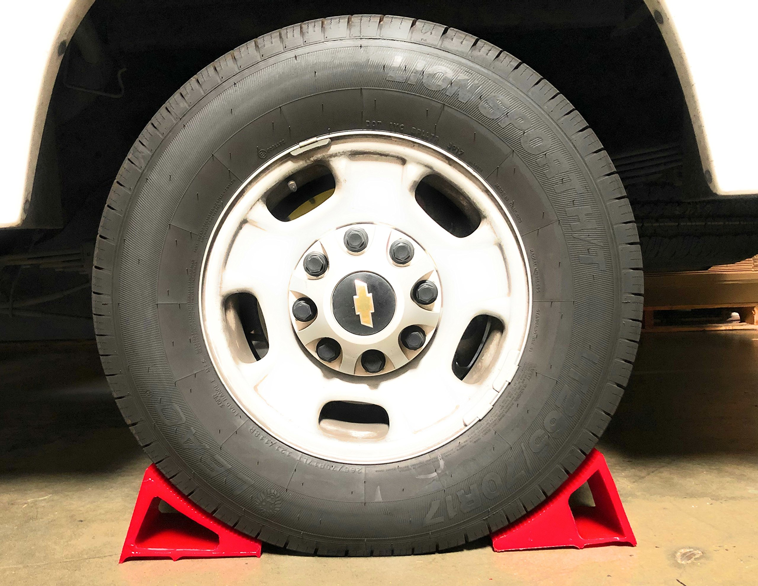 Tire & Wheel Chock - Ideal Camping Accessory for RV Motorhome, Trailer, Truck, Motorcycle & Car. Weatherproof, Outdoor Grade, Polyurethane Better Than Rubber or Plastic, 5 Year Warranty, 2 Pack Red by Elasco Products (Image #7)