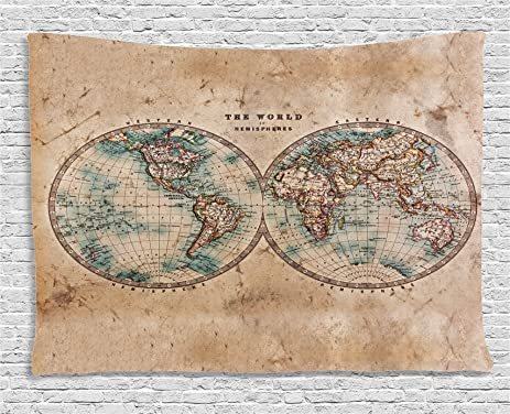 Amazoncom Ambesonne Earth Tones Decor Collection Old World Map - 1800s world map