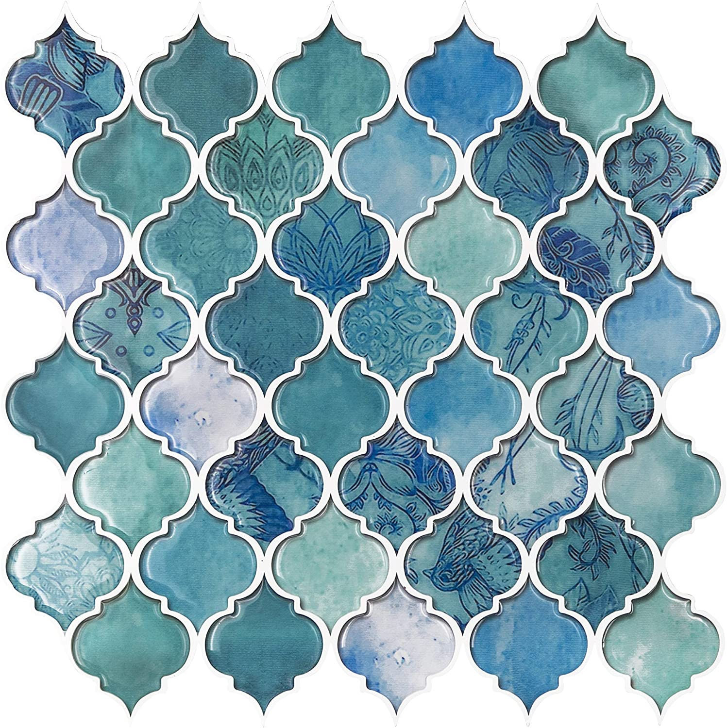 - Amazon.com: VIVID TREE Teal Arabesque Peel And Stick Tile Adhesive