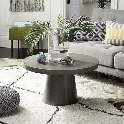 Safavieh VNN1014A Collection Delfia Dark Grey Indoor/Outdoor Modern Concrete Round 27.56″ Coffee Table