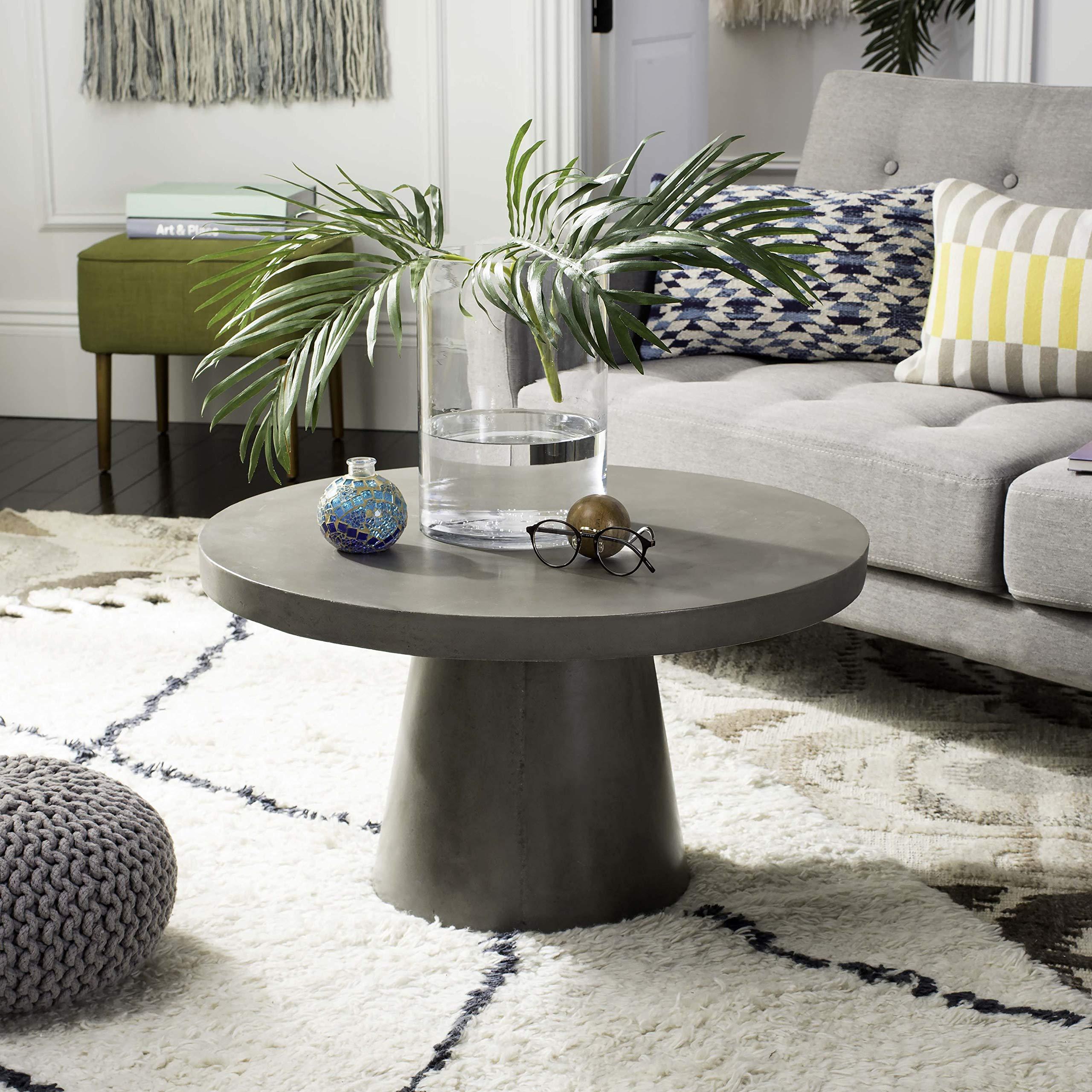 Safavieh VNN1014A Collection Delfia Dark Grey Indoor/Outdoor Modern Concrete Round 27.56'' Coffee Table