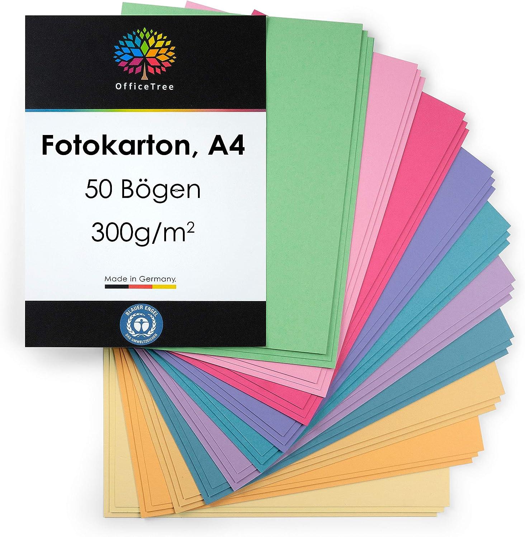 OfficeTree 50 Hoja de papel de color pastel A4-300g/m² niños ...