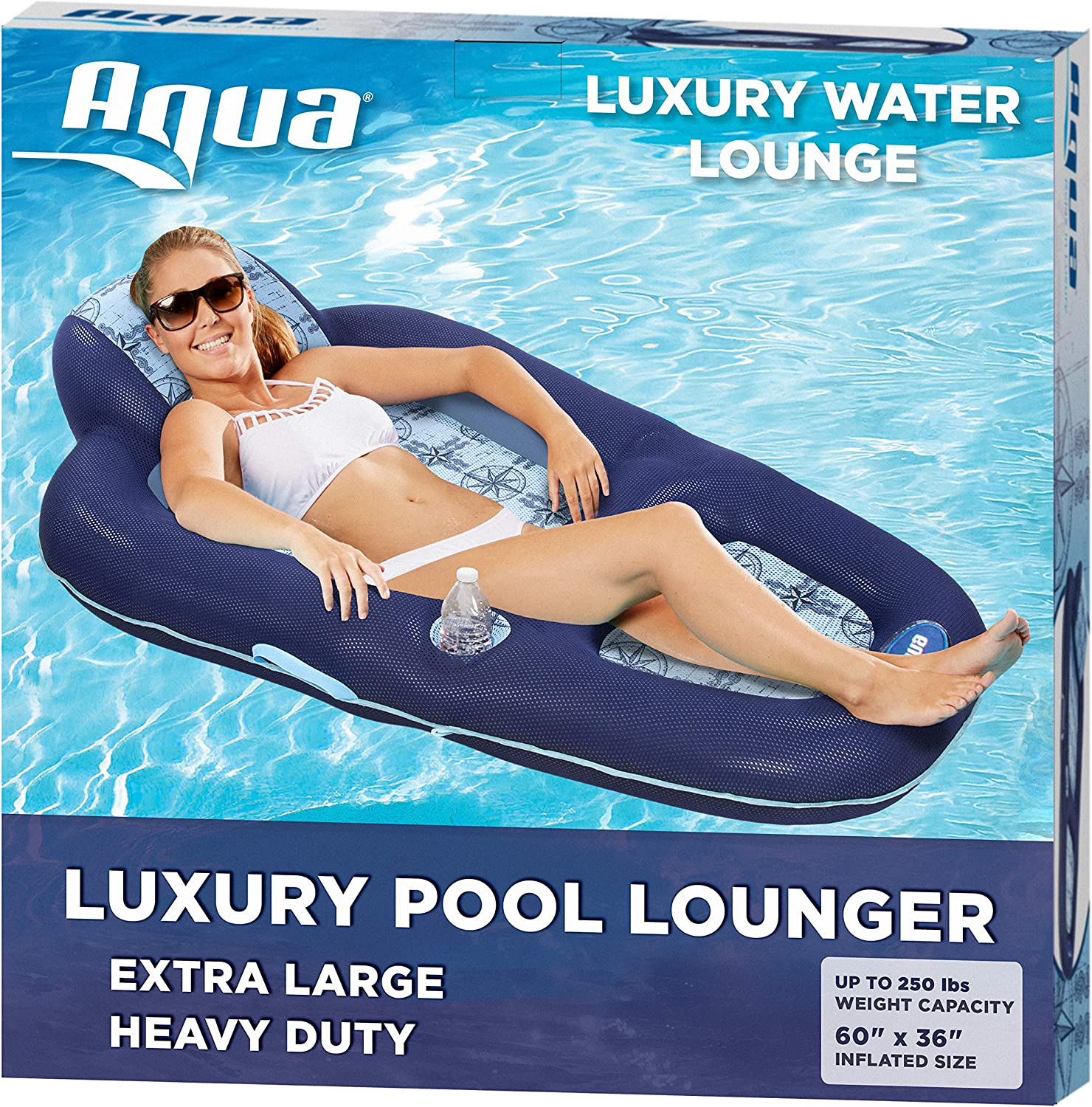 Aqua Luxury Water Lounge, X-Large, Inflatable Pool Float with Headrest, Backrest & Footrest, Navy/Light Blue