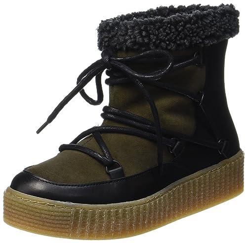 Pieces Pspaccia Leather Boot, Botas de Nieve para Mujer, Verde (Dark Olive), 38 EU Pieces