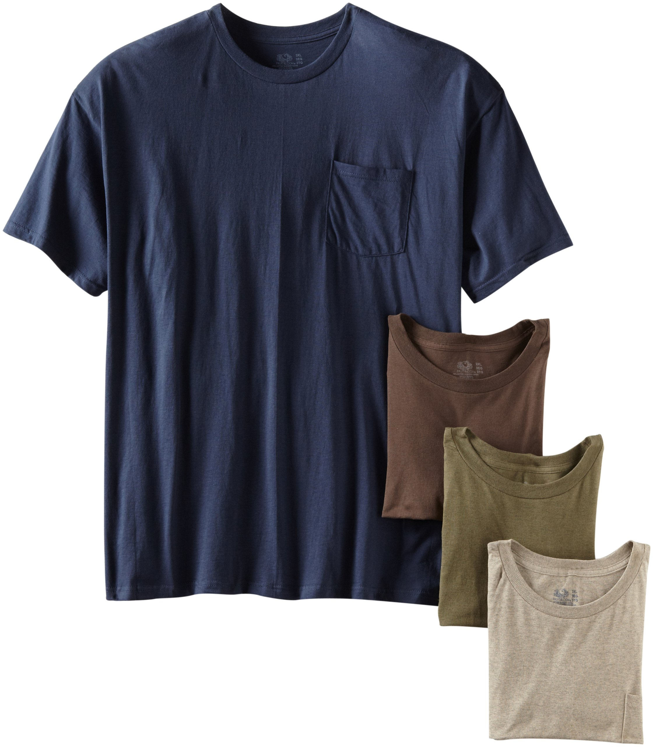Fruit of the Loom Men's Pocket Crew Neck T-Shirt - X-Large - Assorted Earth Tones (Pack of 4)