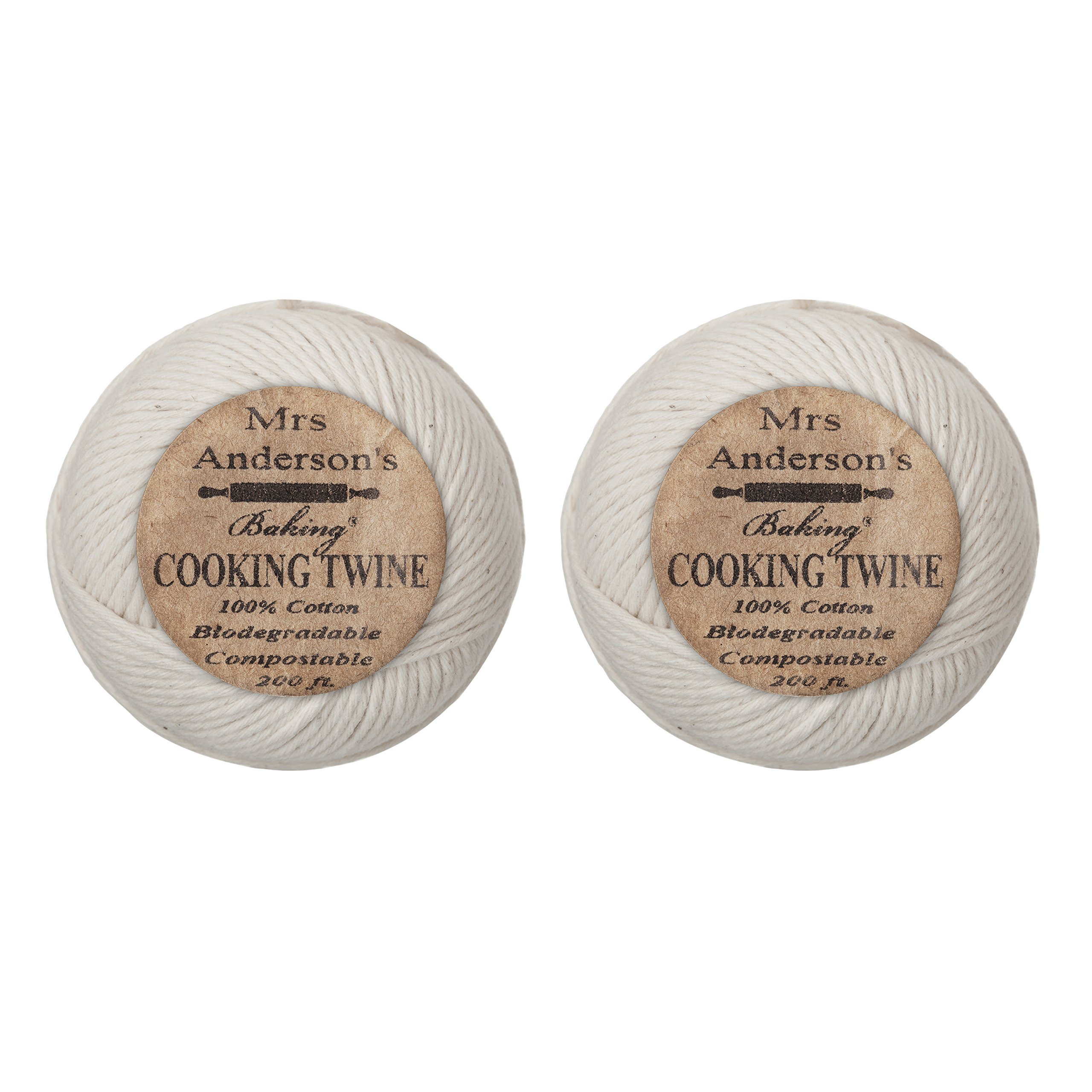 Mrs. Anderson's Baking Cooking Twine, Made in America, All-Natural Cotton, 200-Feet, Set of 2 by Mrs. Anderson's Baking