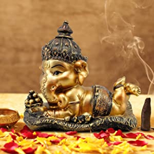TIED RIBBONS Ganesh Idol for Home décor - Decorative Ganesha Statue Diwali Decoration Item (16 cm X 12.9 cm)
