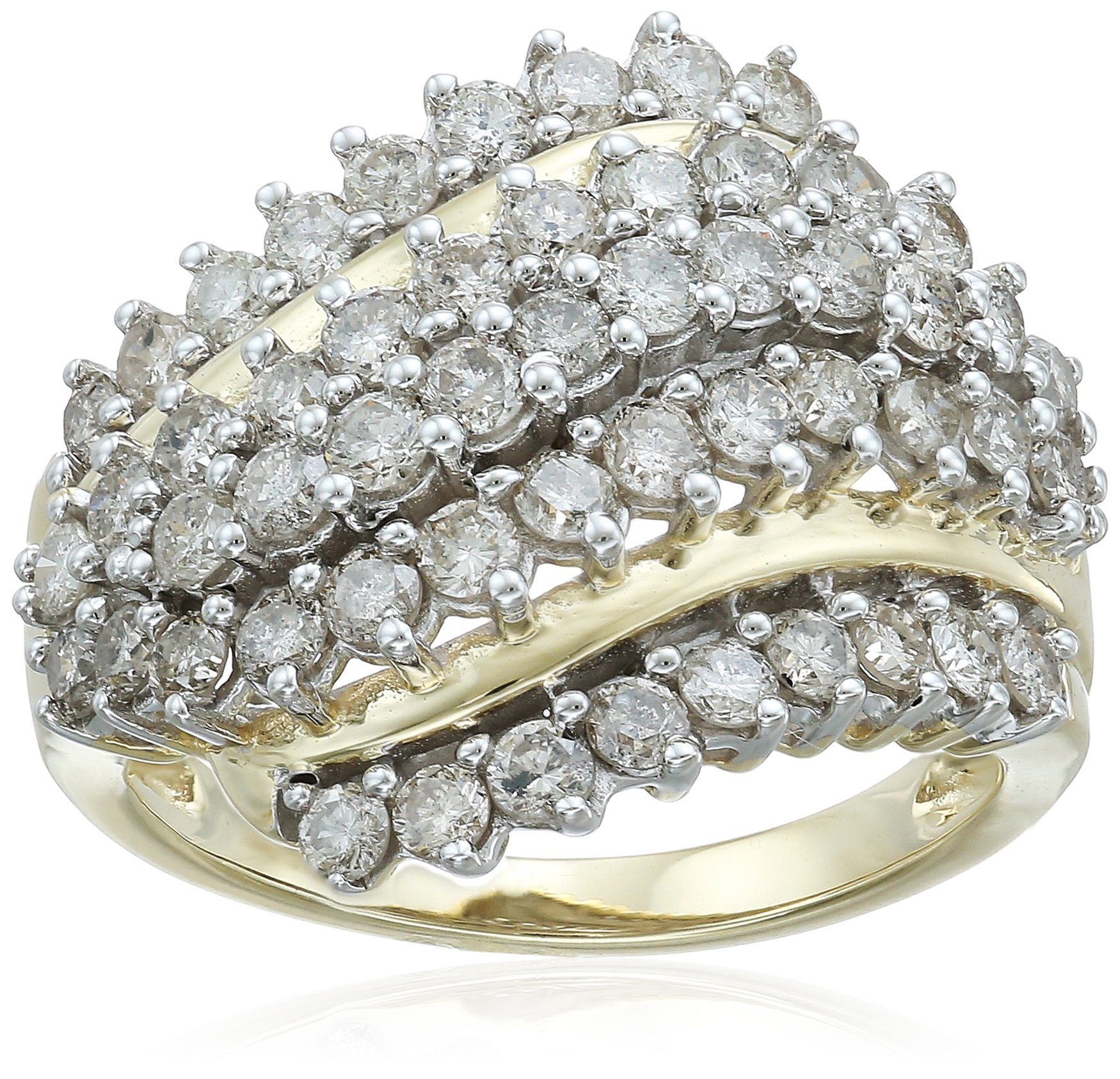 10K Yellow Gold Diamond Cluster Ring (2cttw), Size 7 by Amazon Collection