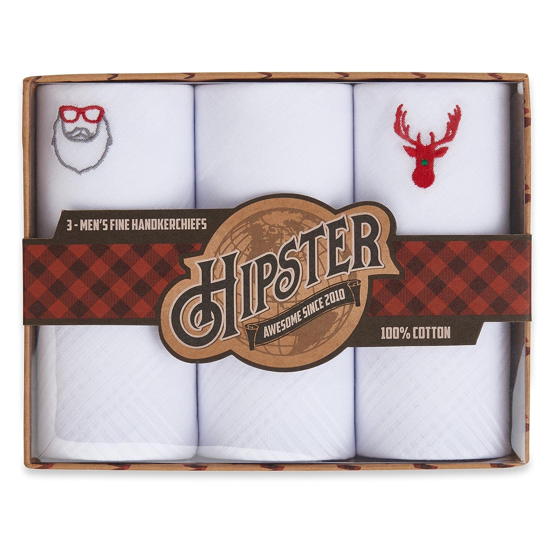 Hipster Men's Handkerchiefs 3 Pack Gift Box