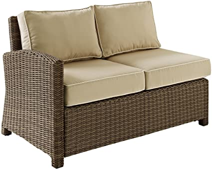 Astounding Crosley Furniture Bradenton Outdoor Wicker Sectional Left Corner Loveseat With Cushions Sand Onthecornerstone Fun Painted Chair Ideas Images Onthecornerstoneorg
