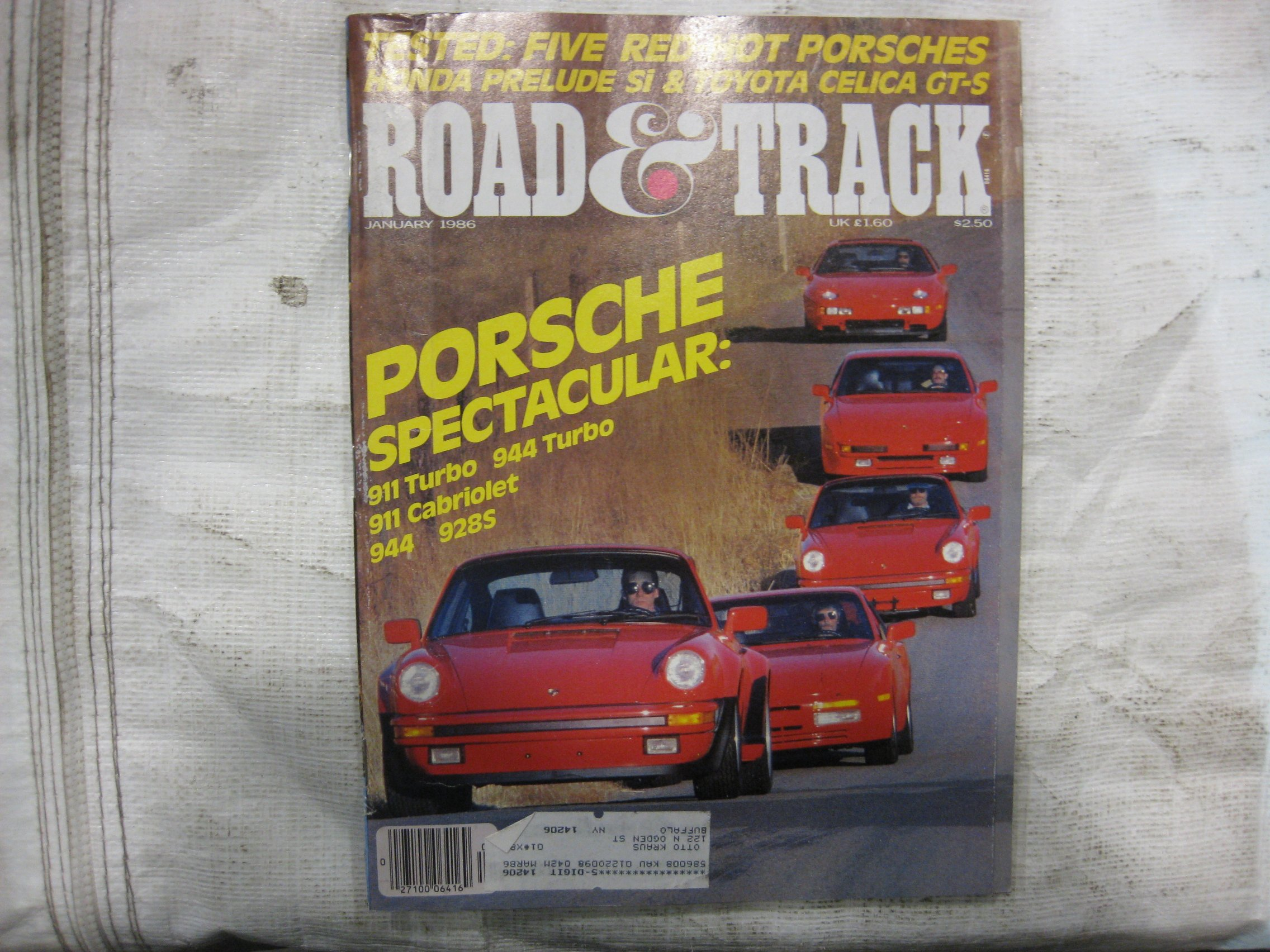 Road And Track Magazine January 1986 Single Issue Magazine – 1986