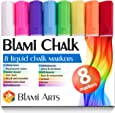 Blami Arts Chalk Markers with reversible bullet and chisel fine tip. Set of 8 shiny neon liquid chalk pens. Free Your Imagination with unique paint colored chalkboard markers Now!