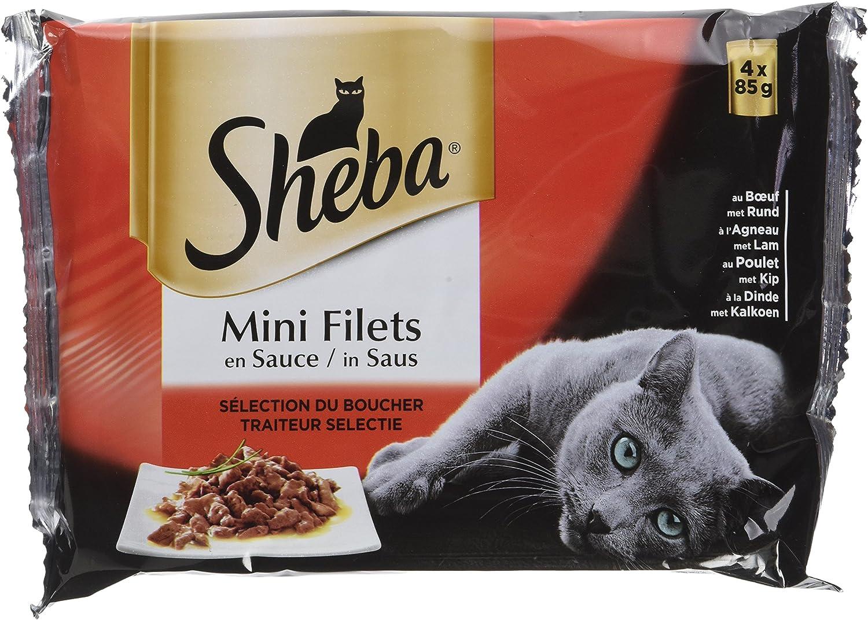 Sheba Mini Filets en Sauce pour Chat Adulte – Nourriture humide pour Chats - sélection du Boucher – Sachets fraîcheur 52 x 85g
