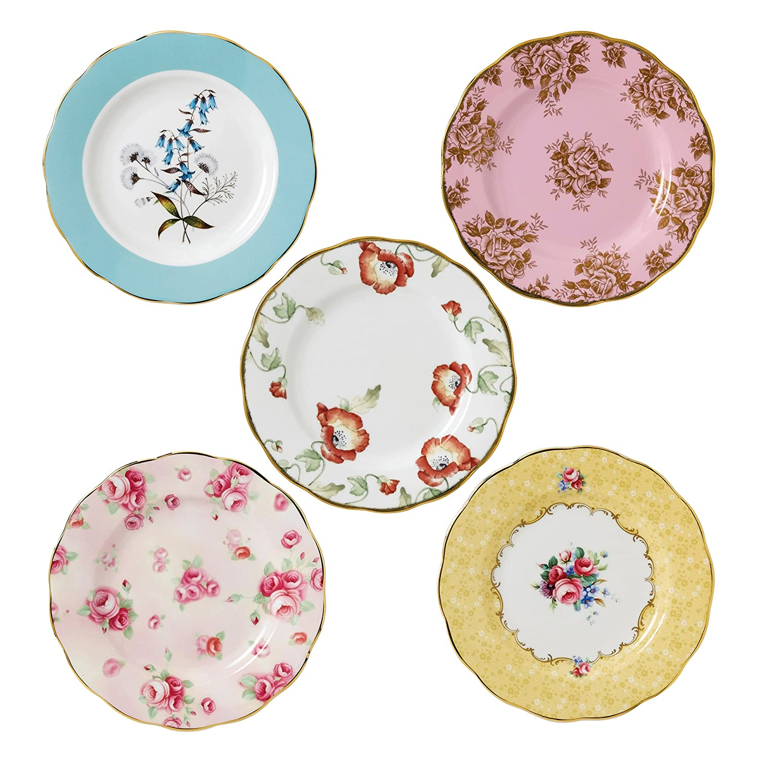 100 Years by Royal Albert 1950-1990 Plate, Set of 5, Multi-Colour, 20 cm/8-Inch Royal Doulton 40017562