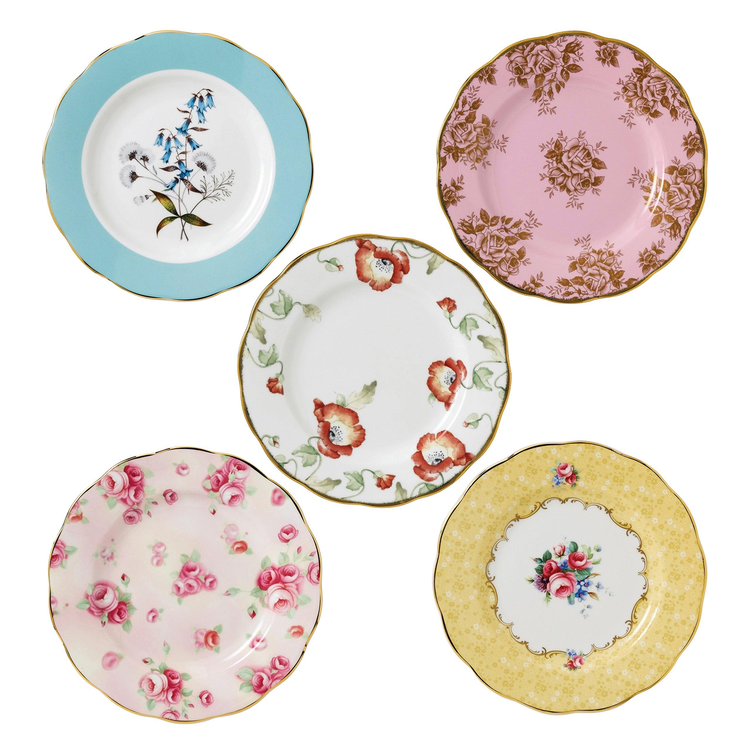 Royal Albert 40017562 100 Years 1950-1990 Plate Set, 8'', Multicolor,5 Piece