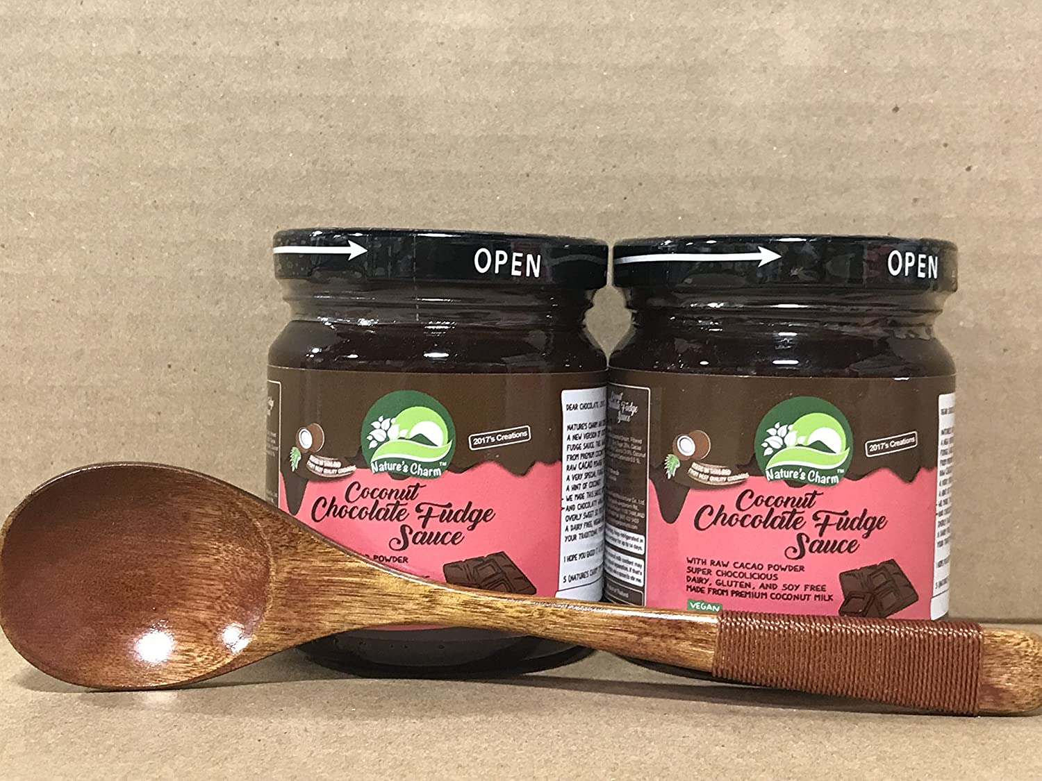 Amazon.com : Natures Charm Coconut Caramel Sauce 7oz Pack of 2 With FREE Natural Wood Spoon By KC Commerce (variety pack of 4) : Grocery & Gourmet Food