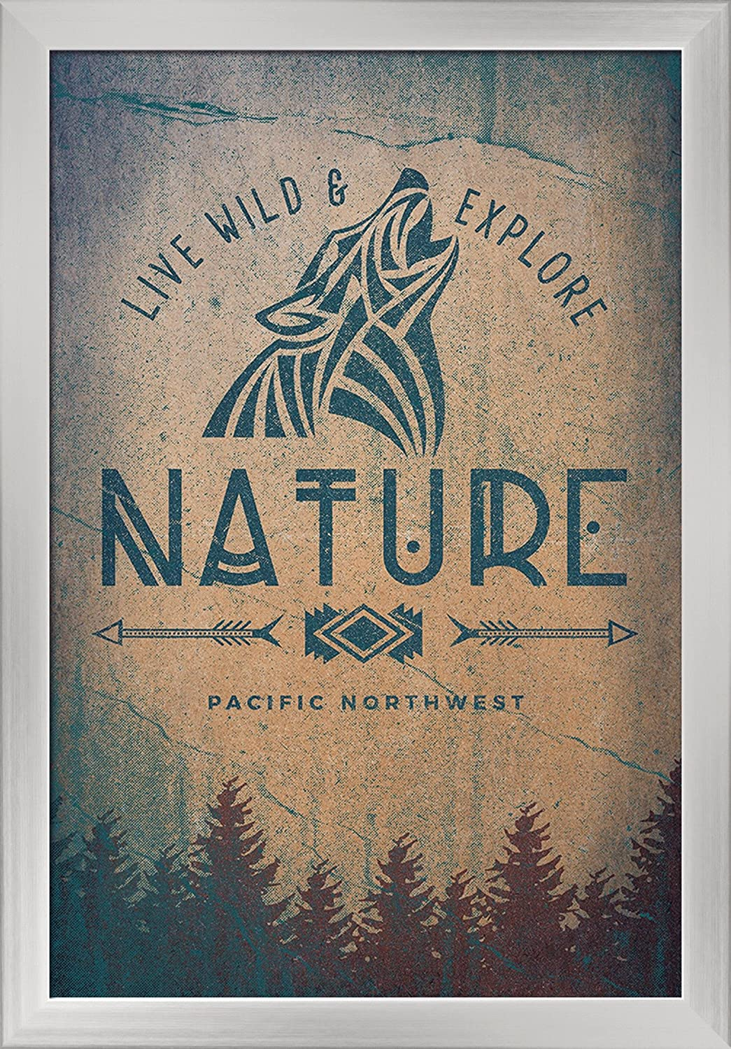 Wolf Howling Pacific Northwest 24x36 Giclee Art Print, Gallery Framed, Silver Wood Live Wild and Explore Nature