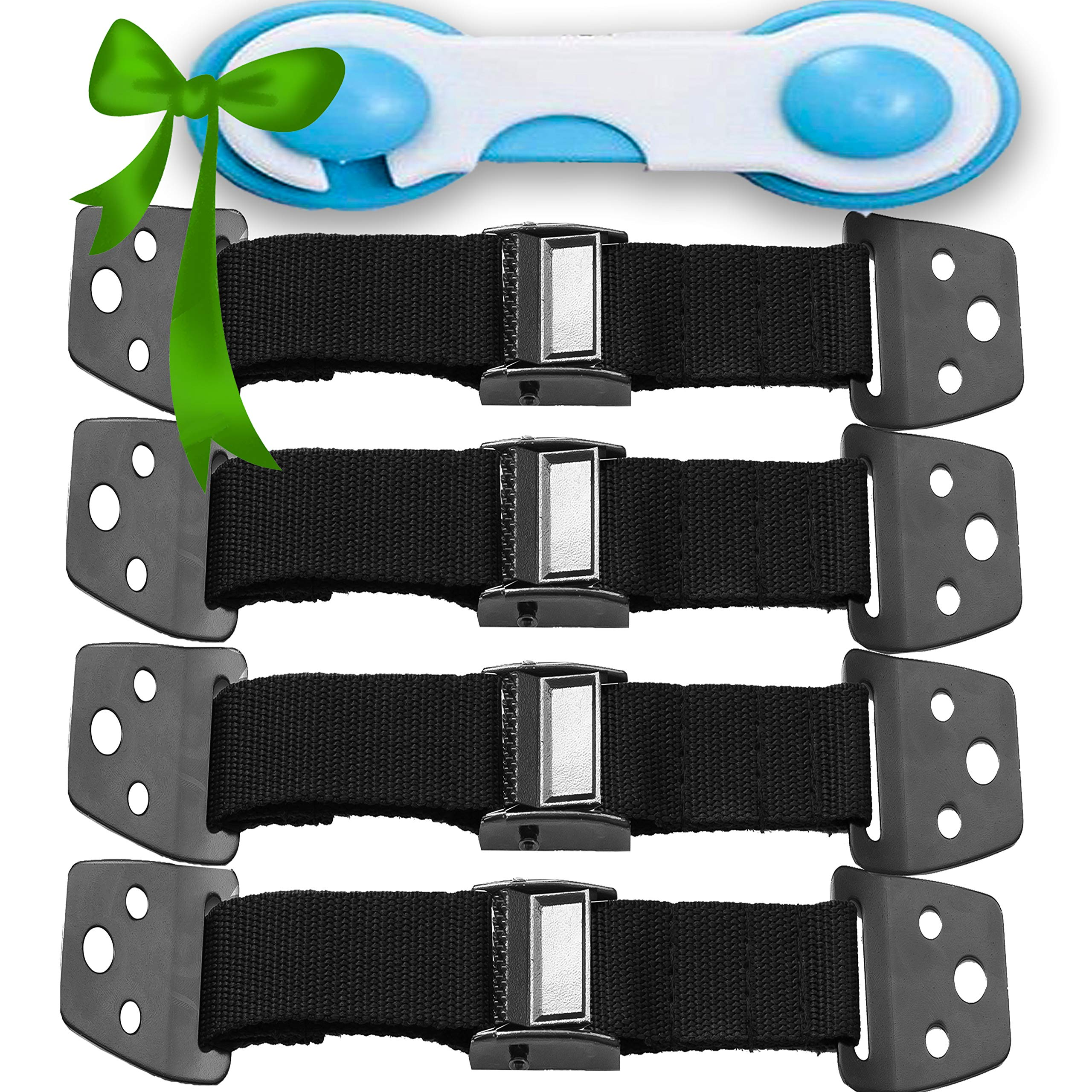 METAL Anti Tip Furniture Kit - TV Straps Safety -4 PACK + GIFT- Earthquake Straps - Furniture Anchors For Baby Proofing - Wall Straps For Flat Screens - Child Proof Mounting Straps, Childproof Antitip by Family Care