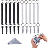 Stylus Tether, Wisdompro® 10pcs Pack of Detachable Elastic Coil Tether Strings / Lanyards with 3.5mm earphone jack for Stylus Pens - Black / Clear