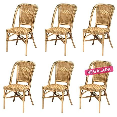 Rotin Design Rebajas : -45% Lote 6 sillas de ratán Miel Baratas para Comedor