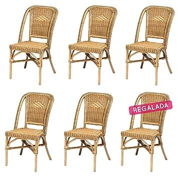 Rotin Design Rebajas : -45% Lote 6 sillas de ratán Miel Baratas para ...