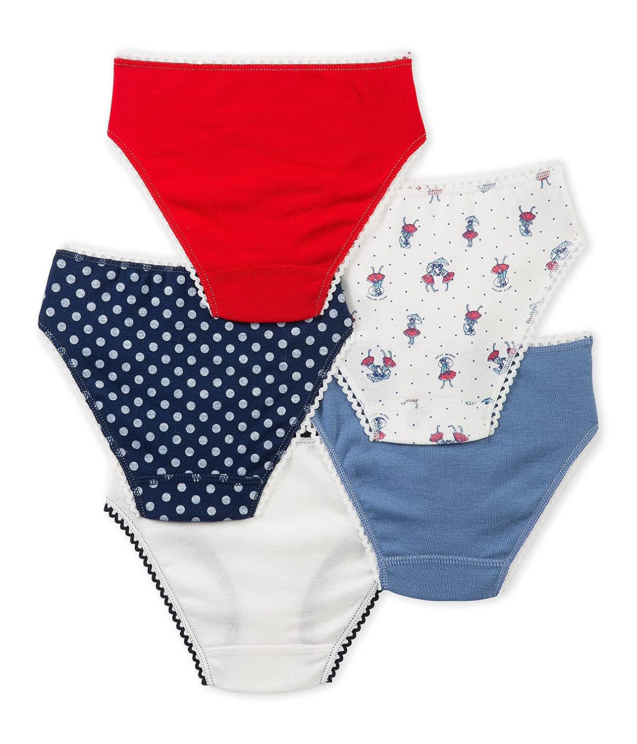 Petit Bateau Girls 5 Pack Solid and Printed Underwear