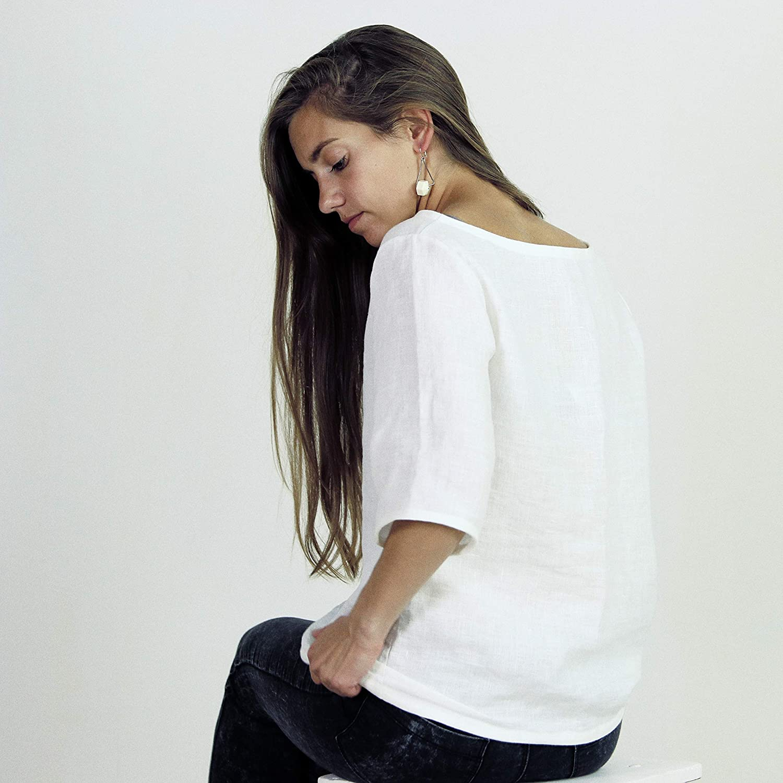 Blouse with 3//4 sleeves natural linen shirt Handmade 100/% linen Top for women vegan shirt top loose fit